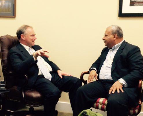 Senator Tim Kaine with Jesuit Ismael Moreno Coto