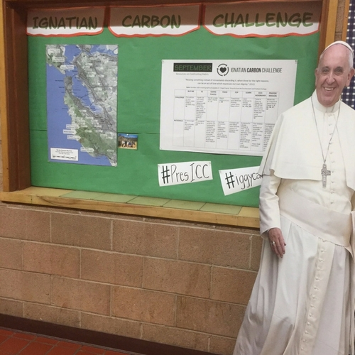 Promotional display highlight the Ignatian Carbon Challenge at Presentation High School in San Jose, CA.