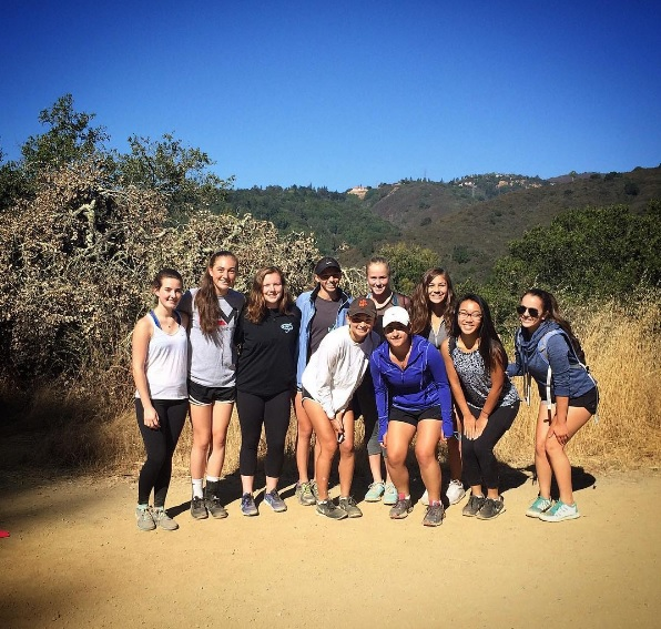 Presentation High School's varsity lacrosse team hikes at Los Gatos Creek Trail.