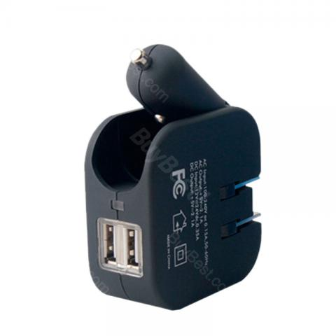 cheap 2 In 1 USB Charger for Home/Car - Black