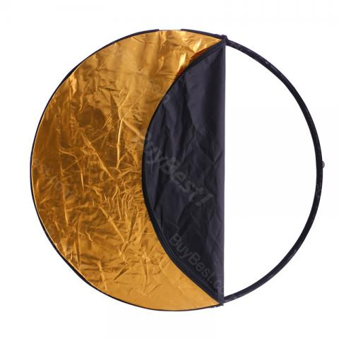 cheap 5 In 1 Collapsible Round Photography Reflector - Black