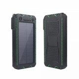 ET Waterproof Solar Powerbank for iPhone/Xiaomi - 12000mAh, Green-1