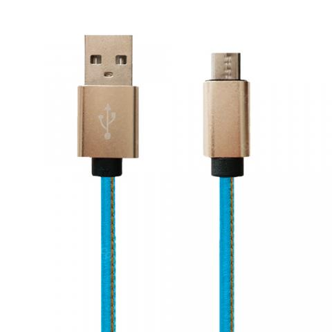 cheap Leather Weave USB Cable - Blue