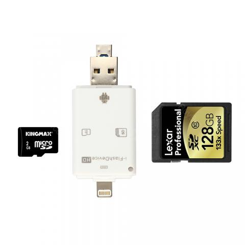 Super Speed 3 In 1 Card Reader for Phone/iPad/TF/FD Card