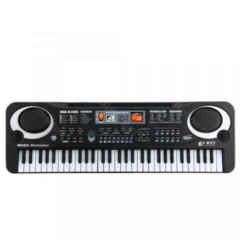 cheap 61 Keys Electronic Organ Piano with Microphone  - Black