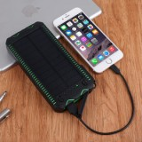 ET Waterproof Solar Powerbank for iPhone/Xiaomi - 12000mAh, Green-2