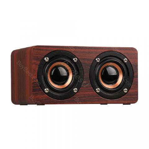 cheap W5 Wooden Box Wireless Bluetooth Speaker - Red