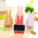 ET Cartoon Rabbit Wooden Phone Holder Stand - Red-3