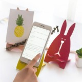 ET Cartoon Rabbit Wooden Phone Holder Stand - Red-2