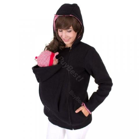 cheap Maternity Warm Clothing Hoodies for Carrying Baby - Black XL