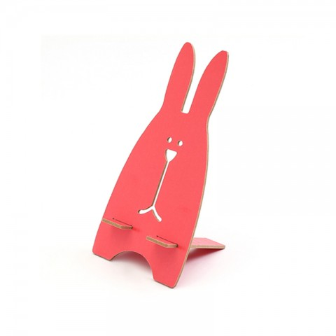 cheap ET Cartoon Rabbit Wooden Phone Holder Stand - Red