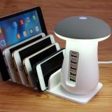 5 USB Ports Charger with Stand and Light iPhone/Android  - White-4