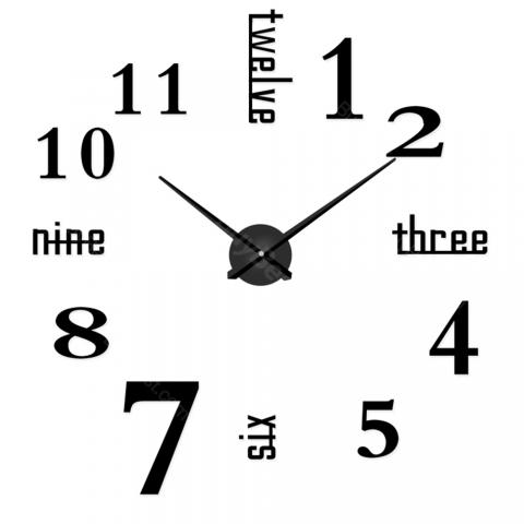 cheap 3D Sticker Wall Clock - Black