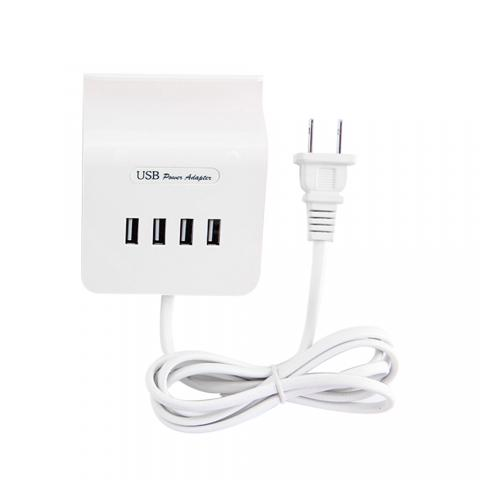 cheap High Speed 4 Ports USB Charger with Phone Stand - White US plug