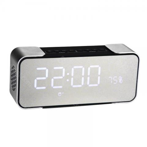 cheap Portable PTH-305 Wireless Bluetooth Speaker with FM Radio, Time Alarm Clock, Silver
