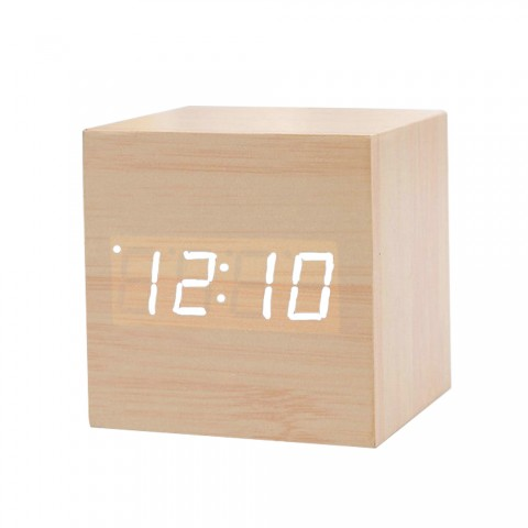 cheap Wooden Electronic Alarm Clock Mini Cube Digital Table Watch - B04