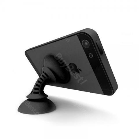 cheap Double Sucker Phone Stand with Winding Function - Black