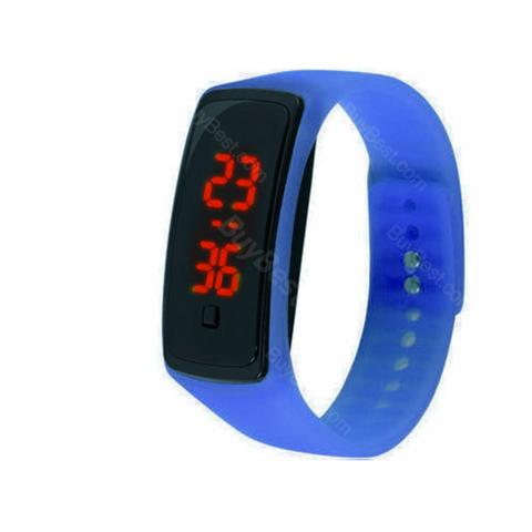 cheap LED Silicone Digital Wrist Watch - Blue