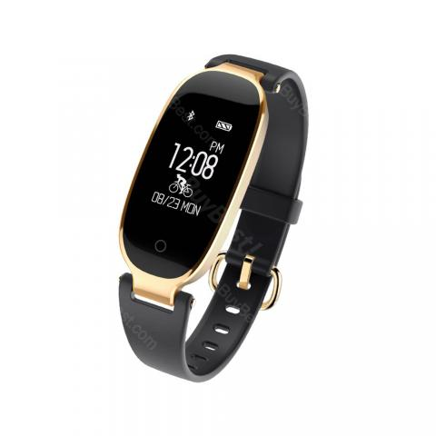 cheap Smart Bracelet PPG Heart Rate Monitor Waterproof 0.96 Inches Touch Screen - Black/Gold