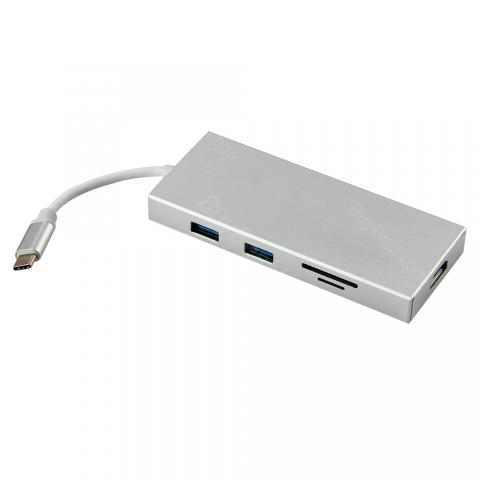 4 In 1 Adapter with Type-C/USB HUB/HDMI/SD/TF Ports