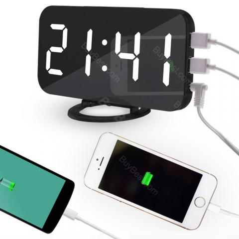 cheap LED Display Mobile Phone Charging Alarm Clock - Black