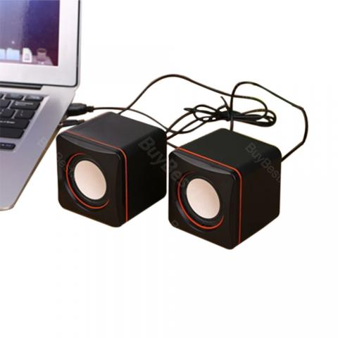 cheap Desktop Laptop Mini USB Wired Speaker 2pcs/set