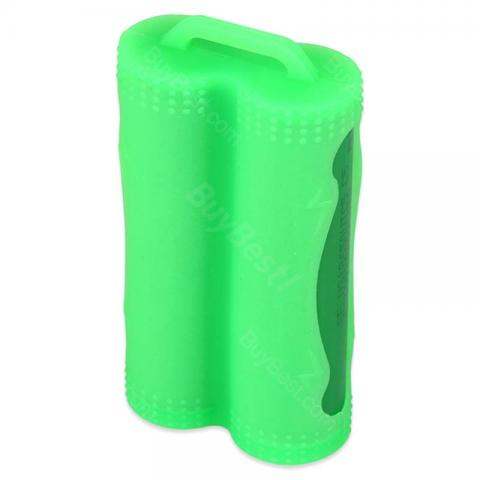 cheap Silicone Dual 18650 Battery Case - Green