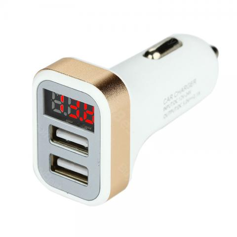 cheap Digital Display Smart Car Charger with Dual USB Ports - Gold