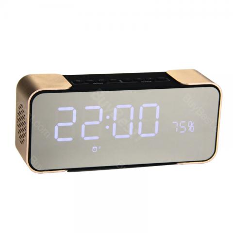 cheap Portable PTH-305 Wireless Bluetooth Speaker with FM Radio, Time Alarm Clock, Gold