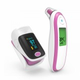 best BGM-1 Medical Finger Pulse Oximeter Ear Thermometer, Pink