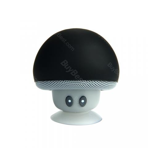 cheap Easy-to-use Mini Mushroom Wireless Bluetooth Speaker with Suction Cup, Black
