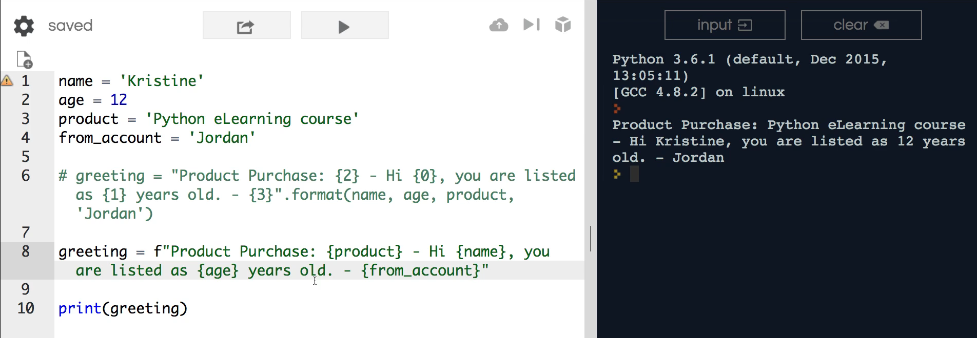 How to Use Python's format method to Implement Index Based