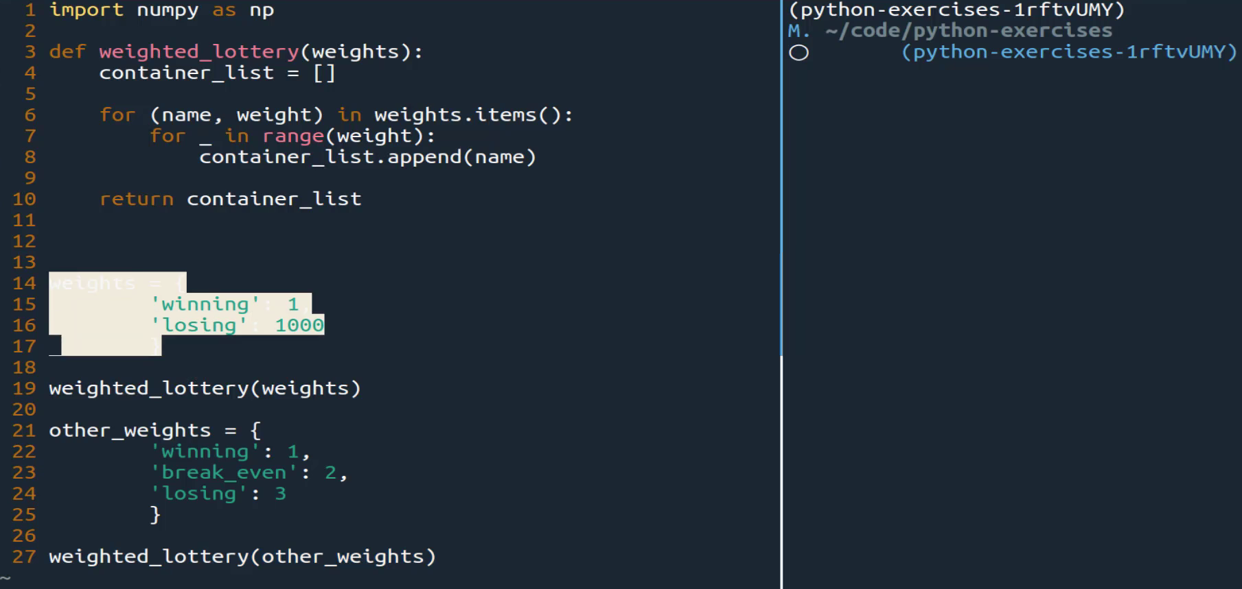 Build a Weighted Lottery Function in Python