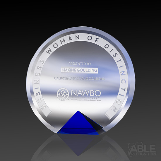 Distinction Crystal Award on Blue Base