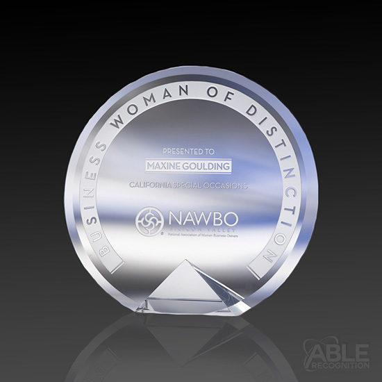 Distinction Crystal Award on Clear Base