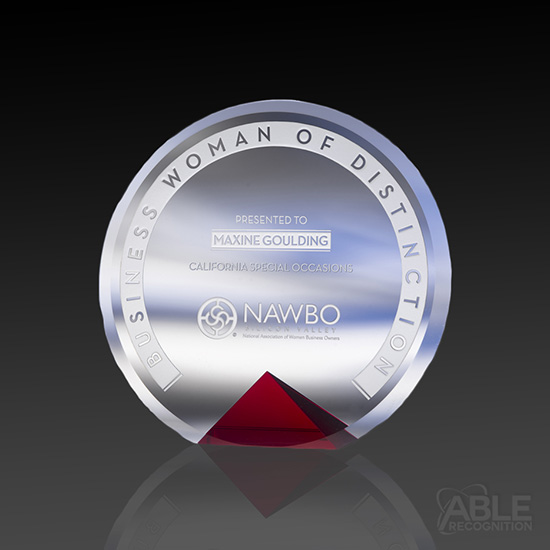 Distinction Crystal Award on Red Base