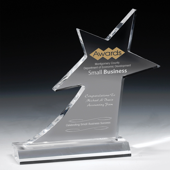 Acrylic Shooting Star Award with Base