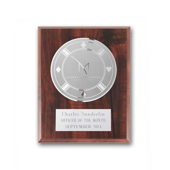 Etch/Frosted Plaque - Walnut Finish