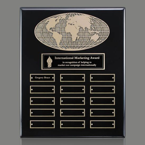 World Perpetual Plaque (Vert) - Black 15 Plate