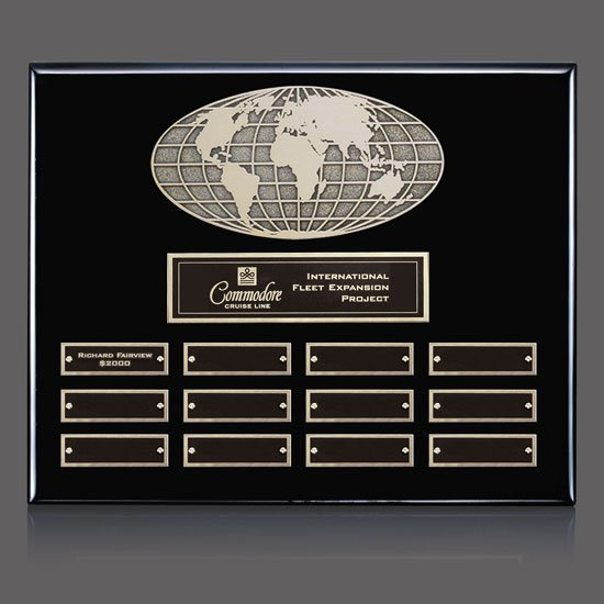 World Perpetual Plaque (Horiz) - Black 12 Plate