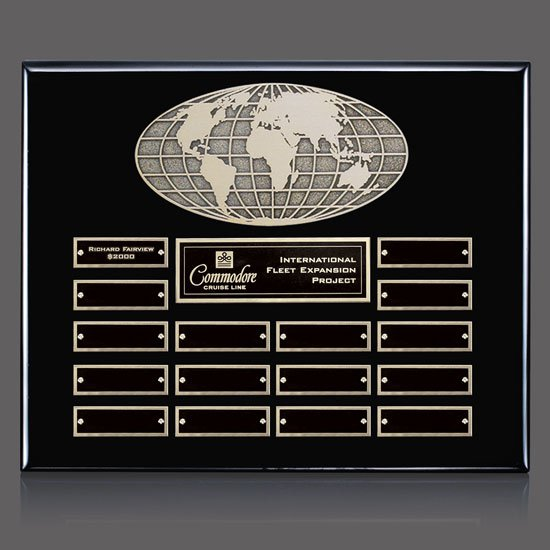 World Perpetual Plaque (Horiz) - Black 16 Plate