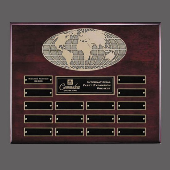 World Perpetual Plaque (Horiz) - Rosewood 16 Plate