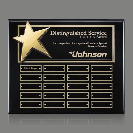Rising Star Pert/Plaque - Black/Gold 20 Plate