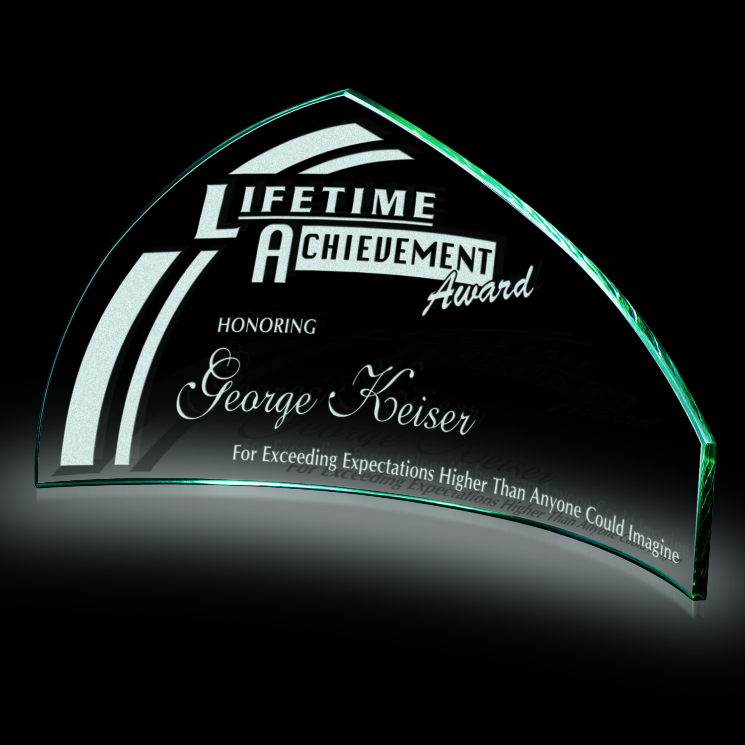 Slumped Pennant Crystal Award