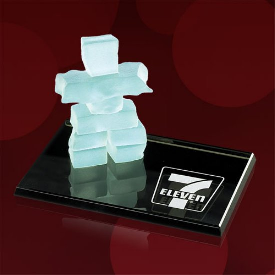 Micro Inukshuk on Black Mirror Base
