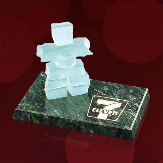 Micro Inukshuk on Green Marble Base