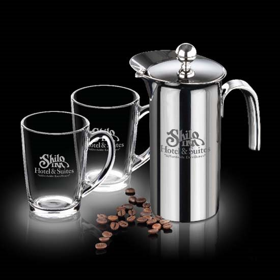 French Coffee Press & 2 Dundas Mugs