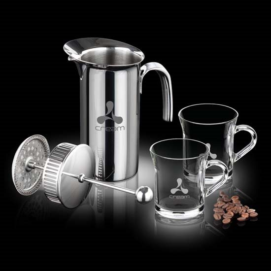 French Coffee Press & 2 Giovanni Mugs