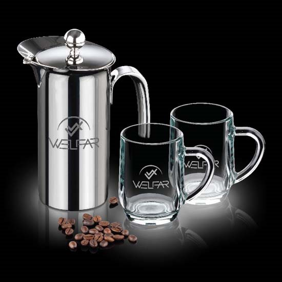 French Coffee Press & 2 Haworth Mugs