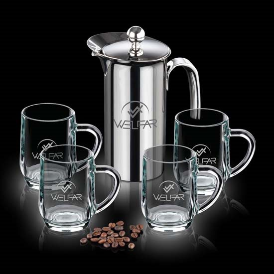 French Coffee Press & 4 Haworth Mugs